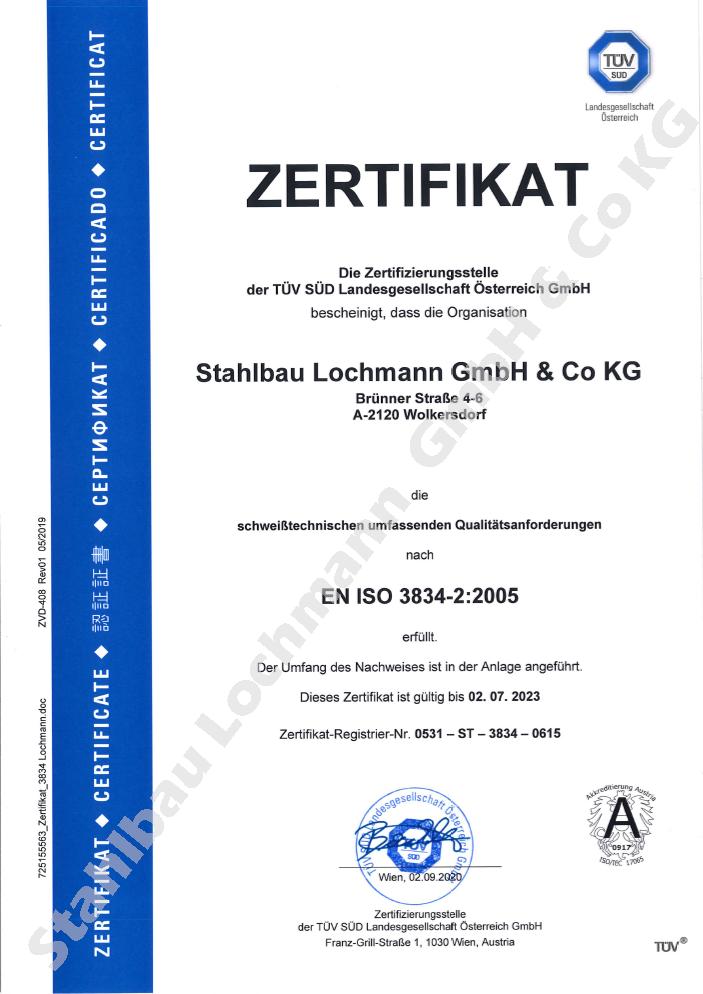 Zertifikat EN ISO 3734