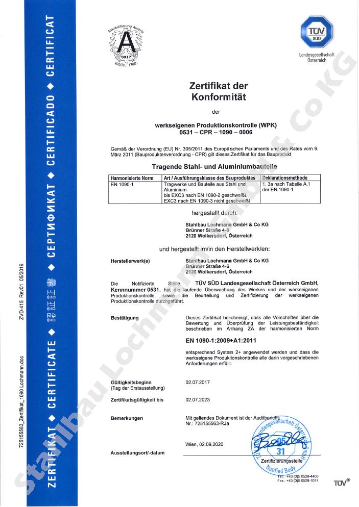 Zertifikat der Konformität